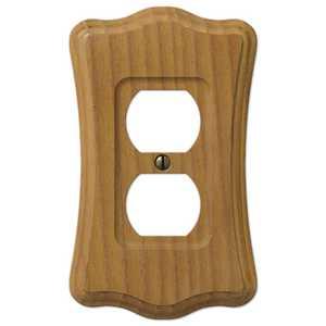 AmerTac 176D Austin Medium Oak Finish Wood 1-Duplex Outlet Wallplate