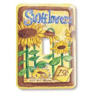 AmerTac 114T Sunflower Seeds Steel 1-Toggle Wallplate