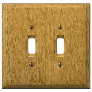 AmerTac 4025TT Carson Light Oak Wood 2-Toggle Wallplate