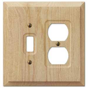 AmerTac 180TD Baker Unfinished Alder Wood 1-Toggle / 1-Duplex Outlet Wallplate
