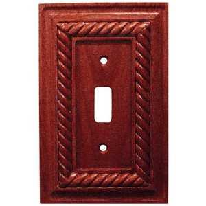 Amertac 4011TM Rope Mahogany Solid Wood 1 Toggle Wallplate