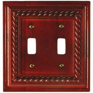 AmerTac 4011TTM Rope Mahogany Solid Wood 2-Toggle Wallplate