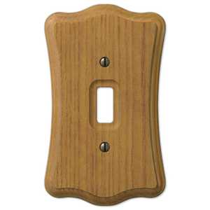 AmerTac 176T Austin Medium Oak Finish Wood 1-Toggle Wallplate
