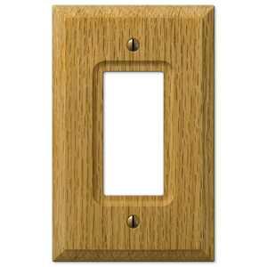 AmerTac 4025R Carson Light Oak Wood 1-Rocker Wallplate