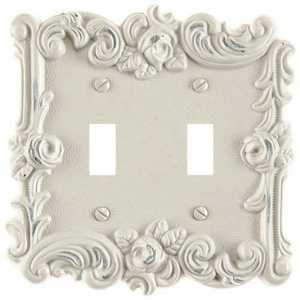 Amertac 60TTAW Provincial Antique White Cast Metal 2 Toggle Wallplate