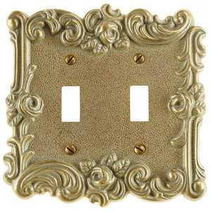 AmerTac 60TTCG Provincial Country Gold Cast Metal 2-Toggle Wallplate