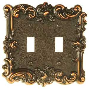AmerTac 60TTVB Provincial Aged Bronze Cast Metal 2-Toggle Wallplate