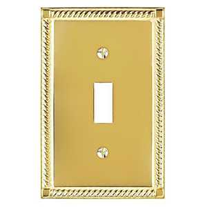 AmerTac 53T Georgian Solid Brass 1-Toggle Wallplate