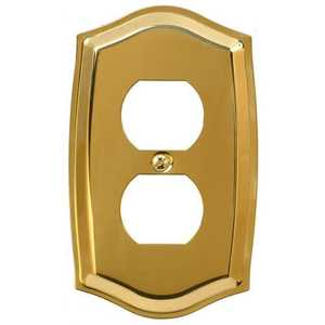 AmerTac 76DBR Sonoma Polished Brass Solid Brass 1-Duplex Outlet Wallplate