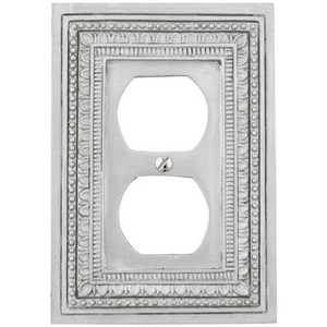 AmerTac 8330DFT Filigree Border Tin Resin 1-Duplex Outlet Wallplate