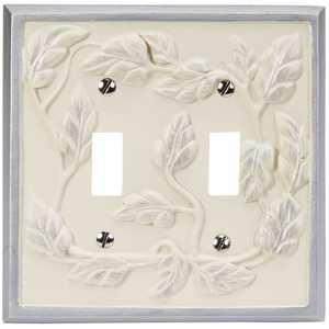 AmerTac 8335TTW Leaf White Resin 2-Toggle Wallplate