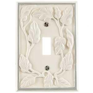 Amertac 8335TW Leaf White Resin 1 Toggle Wallplate