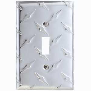 AmerTac 955T Diamond Plate Aluminum 1-Toggle Wallplate