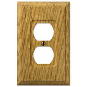 AmerTac 4025D Carson Light Oak Wood 1-Duplex Outlet Wallplate