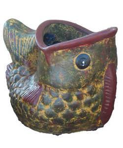 Amigos Pottery 628 Medium Fish Planter 14.5 in