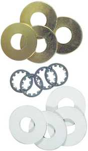 Westinghouse Lighting 7015500 12 Assorted Washers, Brass-Plated Steel and Rubber