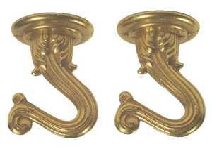 Westinghouse Lighting 7045000 Polished Brass Finish Swag Hook Set