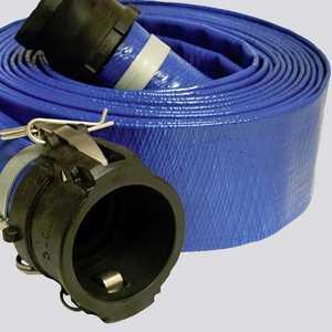 Apache Hose and belting 98138011 1-1/2 In X 25 Ft Blue Standard-Duty PVC Layflat Discharge Hose Assembly — Polypropylene Cam Lock