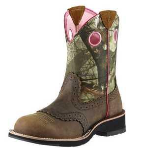 ARIAT INTERNATIONAL, INC 10006854 Women's Fatbaby Cowgirl Boot Distress Brown 8.5