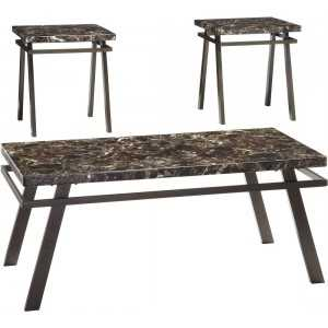 Signature Design By Ashley T126-13 Painstville Bronze Finish Occasional Table Set
