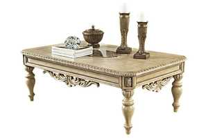 Signature Design By Ashley T707-1 Ortanique - Antique White Rectangular Cocktail Table