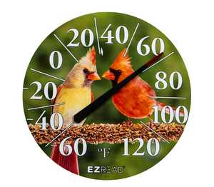 Headwind 840-1211 Dial Thermometer With Male And Female Cardinals 12.5 in