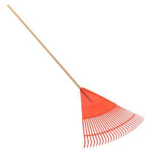 ATE Pro Tools 22031 26-Tine Orange Plastic Rake With Wood Handle