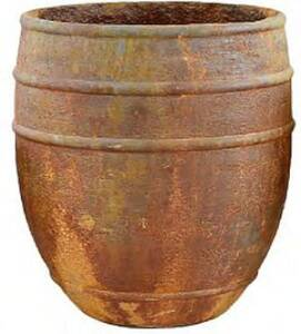 BFG Supply, LLC 100602BRUST Michael Carr Designs Liconfiber Tall Double Lined Planter In Rust 15 in