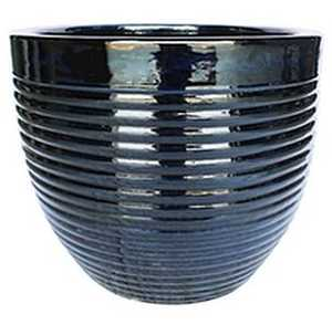 BFG Supply, LLC 2662B Michael Carr Designs Ribbed Planter In Glossy Black 14.6 in