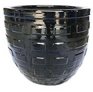 BFG Supply, LLC 2664A Michael Carr Designs Boxed Round Planter In Glossy Black 19.3 in