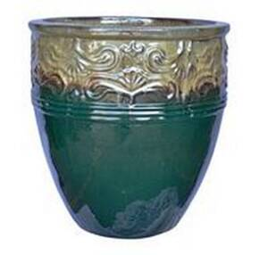 BFG Supply, LLC 2787C Michael Carr Designs Tall Round Lotus Planter In Brown Cream On Glass Green 10.2 in