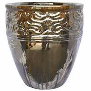 BFG Supply, LLC 2787A Michael Carr Designs Tall Round Lotus Planter In Titan On Yellow Cream 20 in