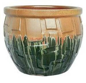 BFG Supply, LLC 2725D Michael Carr Designs Round Planter In Matte Honey On Glass Green 8 in