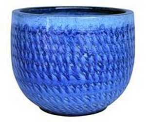 BFG Supply, LLC 2733B Michael Carr Designs Round Planter In Falling Blue 15.7 in
