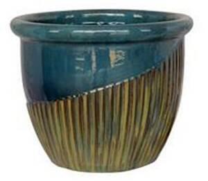 BFG Supply, LLC 2728B Michael Carr Designs Round Planter In Blue Green On Yellow Cream 16 in