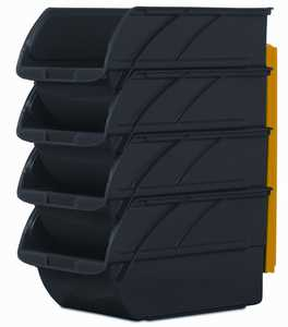 Stanley Tools 057304R Medium Black Storage Bins With Wall Hangers 4-Pack