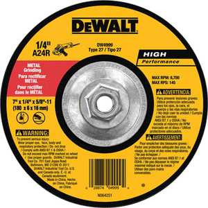 DeWalt DW4999 7 In X 1/4 In X 5/8 In -11 High Performance Metal Grinding Wheel