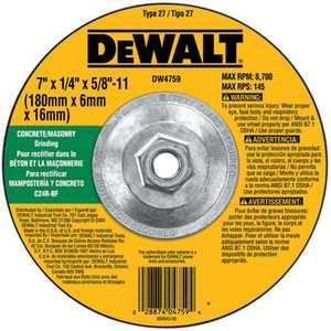 DeWalt DW4759 7 In X 1/4 In X 5/8 In -11 Masonry Grinding