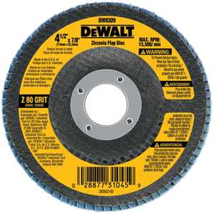 DeWalt DW8309 4-1/2 In X 7/8 In 80g Type 29 Hp Flap Disc