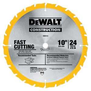 DeWalt DW3112 10 In 24t Fast Ripping Table Saw Blade