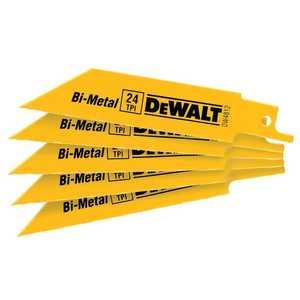 DeWalt DW4812 4 In 24 Tpi Straight Back Bi-Metal Reciprocating Blade (5 Pack)