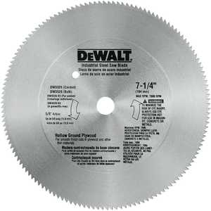 DeWalt DW3326 7-1/4 In 140t Steel Hollow Ground Plywood Saw Blade