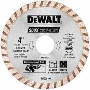 DeWalt DW4724 4 In High Performance Diamond Masonry Blade