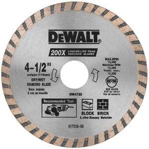 DeWalt DW4725 4-1/2 In High Performance Diamond Masonry Blade