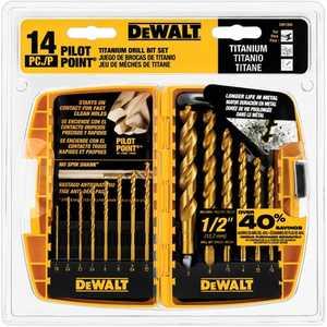 DeWalt DW1354 14 Pc Pilot Point Titanium Drill Bit Set