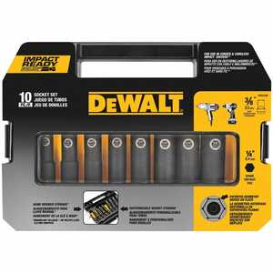 DeWalt DW22838 3/8 In 10 Piece Socket Set - Impact Ready