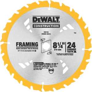 DeWalt DW3182 8-1/4 In 24t Carbide Framing Circular Saw Blade