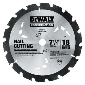DeWalt DW3191 7-1/4 In 18t Nail Cutting Circular Saw Blade