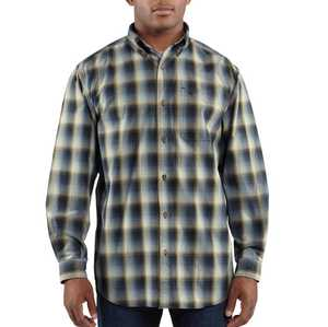 Carhartt 100084-412 Small Navy Plaid Bellevue Long Sleeve Shirt