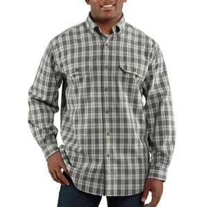 Carhartt 100123-490 Large Blue Chambray Fort Plaid Long Sleeve Shirt